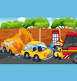 accident scene with cars on fire on road vector image vector image