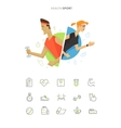 Athletic man and woman symbol icon vector image vector image
