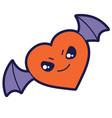 bat heart in cartoon style happy vector image
