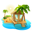beach vacation thatched hut bungalow on tropical vector image vector image