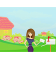 Beautiful woman with a mailbox vector image vector image
