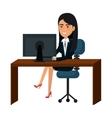 businesswoman working in computer vector image vector image