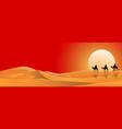 camel riders cross sandy desert vector image vector image