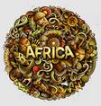 cartoon cute doodles africa word vector image vector image