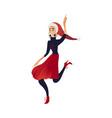 cartoon woman fun at christmas party vector image