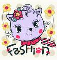 cat girl smiling wearing pink flower headband vector image vector image