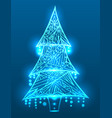 christmas tree with doodle pattern and sparks vector image vector image