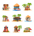 collection beach bungalows on coast tropical vector image vector image