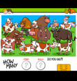 counting cows and bulls educational game for kids vector image vector image