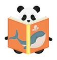 cute bear panda reading book whale vector image