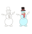 cute cartoon hand drawn snowman vector image vector image