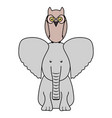 cute elephant and owl woodland animals vector image vector image