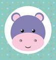 cute hippopotamus head tender character vector image