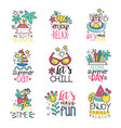 cute summer labels set enjoy summer vacation hand vector image vector image