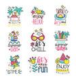cute summer labels set enjoy summer vacation hand vector image