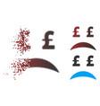 destructed pixel halftone pound bankrupt sad vector image vector image