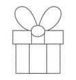 dotted shape present gift box with ribbon bow vector image vector image