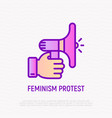 feminism protest hand with bullhorn thin line vector image