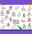 find two identical cat pictures game for kids vector image vector image