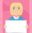 flat of a white woman with a placard in her hands vector image vector image