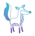 fox cartoon in degraded blue to purple color vector image vector image