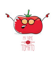 funny cartoon cute red tomato isolated vector image