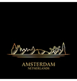 gold silhouette amsterdam on black background vector image