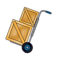 hand truck carrying wooden box shipping delivey vector image vector image