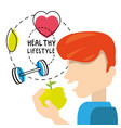 healthy man eat apple to carry healthy lifestyle vector image vector image