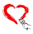 Heart Paint brush Hand vector image vector image