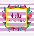 hello spring phrase banner flowers decoration vector image vector image