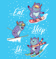 holiday card with funny skiing yettis vector image