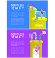 interactive virtual reality vector image vector image