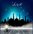 islamic greeting eid mubarak card for muslim vector image