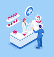isometric pharmacy store and doctor pharmacist and vector image
