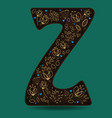 letter z with golden floral decor vector image vector image