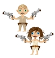 Man and woman armed with handguns two character vector image