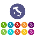 Map of Italy set icons vector image vector image
