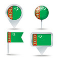 Map pins with flag of Turkmenistan vector image vector image