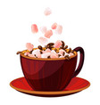 marshmallow in hot chocolate icon cartoon style vector image