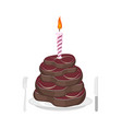 meat cake steak and candle congratulations happy vector image vector image