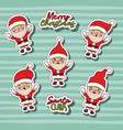 merry christmas with stickers pattern of santa vector image