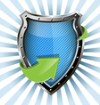 metallic blue shield vector image