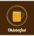Oktoberfest Big Beer glass mug with foam cap froth vector image