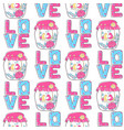 pattern lettering love stylized large letters on vector image vector image