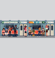 people in subway train car vector image vector image