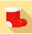 red santa shoes icon flat style vector image vector image