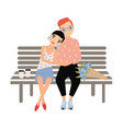 romantic couple sitting together on bench isolated vector image vector image