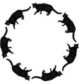 round frame from sketches black domestic cat vector image