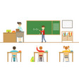 school lesson pupils sitting at desk view from vector image vector image
